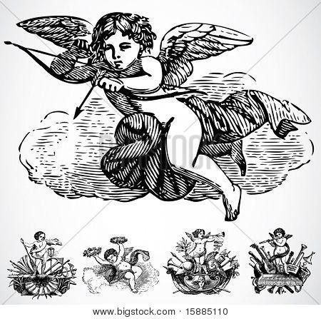 Vector enfeites de anjo