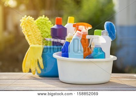House cleaning product on the table outdoor