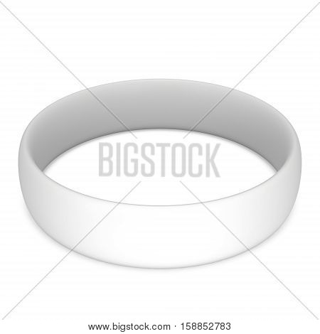 Blank rubber plastic stretch white bracelet. 3d render isolated on white background.