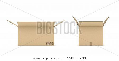 3d rendering of open cardboard mail box isolated on a white background. Postal services. Packing and crating. Storage of different products.