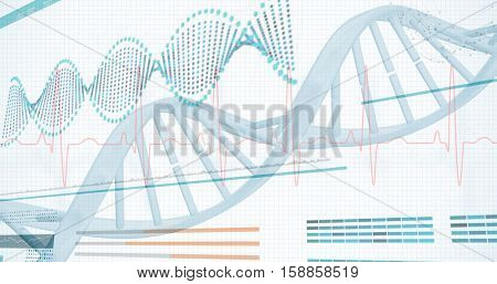 3D Helix diagram of DNA on white background