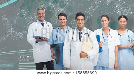 Portrait of male doctor with medical team against 3D genes diagram on dark background