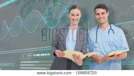 Portrait of male and female doctors discussing over reports against 3d helix diagram of dna