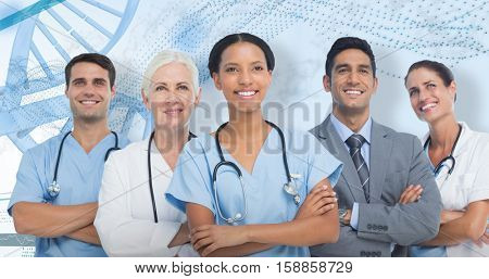 Confident medical team looking away against 3D genes diagram on white background