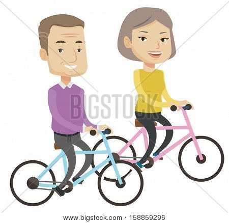 Cheerful senior couple riding a bicycles. Retired couple having fun while riding a bicycles. Active couple enjoying walk with bicycles. Vector flat design illustration isolated on white background.
