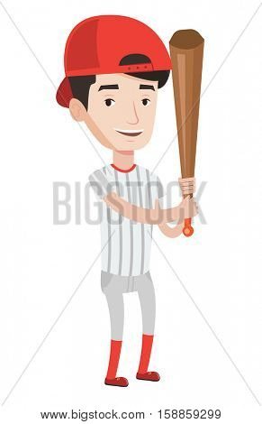 Young caucasian baseball player wearing uniform. Professional baseball player standing with a bat. Cheerful baseball player in action. Vector flat design illustration isolated on white background.