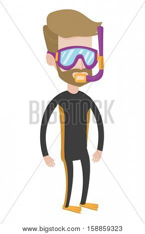 A hipster diver standing in diving suit, flippers, mask and tube. Young caucasian diver enjoying snorkeling. Diver ready for snorkeling. Vector flat design illustration isolated on white background.