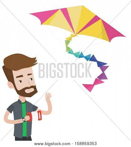 Young hipster man flying a colourful kite. Caucasian man controlling a kite. Happy man walking with kite. Cheerful man playing with kite. Vector flat design illustration isolated on white background.