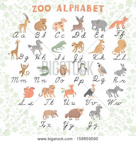 Cute vector zoo alphabet. Funny cartoon animals. Letters. Learn to read and to write. Vector Illustration. Isolated.