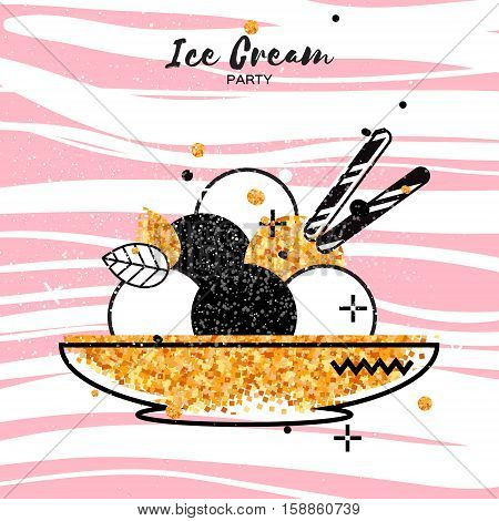 Sweet Ice Cream with different flavor. Gold Glitter Dessert party time. Six of tasty frozen dessert in a golden bowl with wafer straw on pink stripes background. Vector illustration.