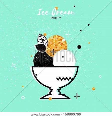 Sweet Ice Cream with different flavor. Gold Glitter Dessert party time. Trio of tasty frozen dessert in a white bowl on blue background. Vector illustration.