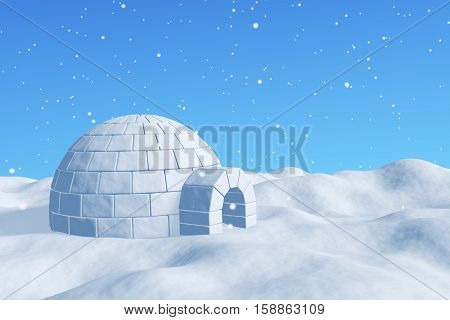 Igloo Icehouse Under Blue Sky Under Snowfall
