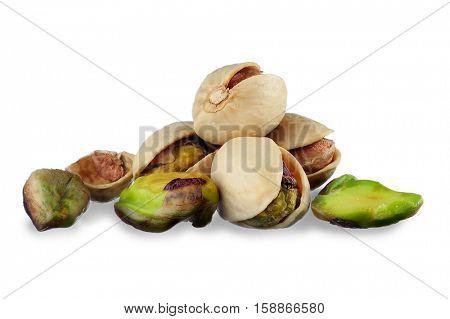 Close-up image of pistachios studio isolated on white background