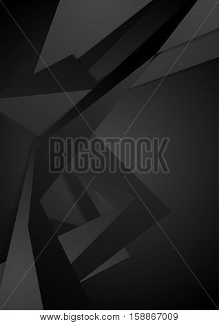 Black polygonal geometric abstract background. Vector tech corporate design
