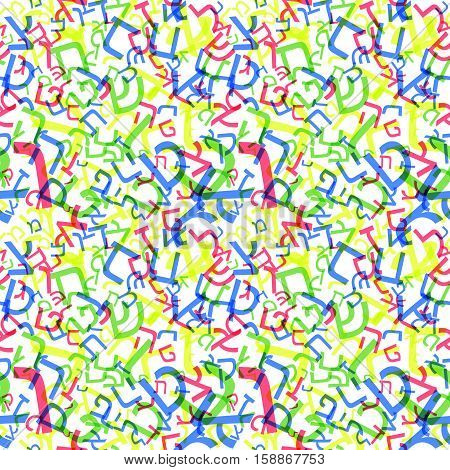 Hebrew alphabet seamless pattern. Hebrew ABC background. Vector illustration. Blue jewish letters in repeating pattern. All characters of hebrew alphabet. Abstract typographic blue pattern.