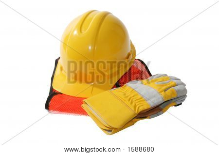 Construction Hat And Gloves