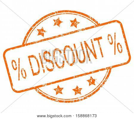 orange Discount rubber stamp on white background - illustration