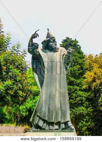 Split, Croatia - May 08, 2014: Monumental bronze statue of Bishop Gregory of Nin created in 1929 by Ivan Mestrovic in Split, Croatia on May 08, 2014: