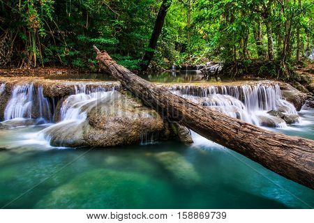 Erawan Waterfalls in Kanchanaburi Province of Thailand