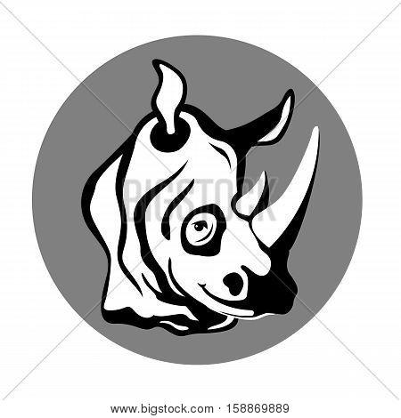 Rhino head vector illustration style Flat side profile