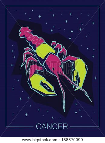 Zodiac sign Cancer on night starry sky background. Vector illustration.