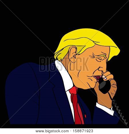 29 NOV, 2016: President of United States Donald Trump is talking on the phone. Donald Trump holding a phone on US flag background. President Donald Trump has an important conversation.