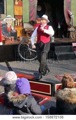 26TH NOVEMBER 2016, PORTSMOUTH DOCKYARD, ENGLAND:A Victorian travelling showman at the yearly Christmas Victorian festival in Portsmouth, England, 26th November 2016