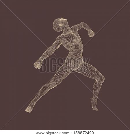 Gymnast performs an artistic element. Rhythmic gymnastics, acrobatics and aerobics. 3D Human Body Model. Vector Illustration.