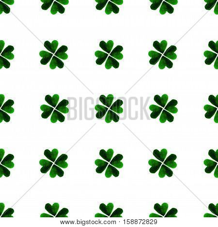 Watercolor Green Four-leaf Clover Leaves. St. Patrick Day Background. Charity. Hand Painted Illustra