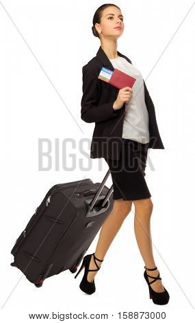 Traveling businesswoman isolated on white