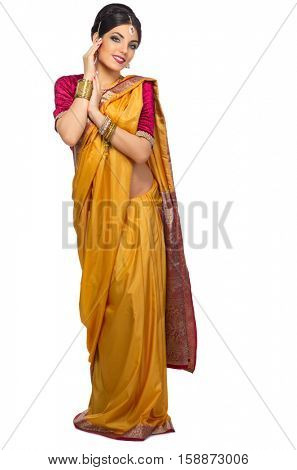 Young indian girl isolated on white