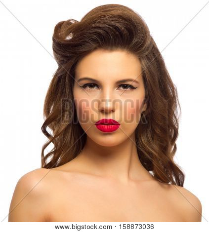 Pinup portrait of young girl isolated
