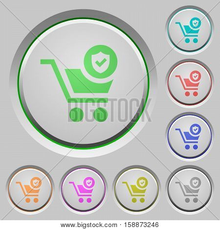 Secure shopping color icons on sunk push buttons