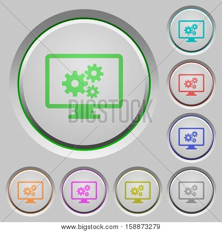 Screen settings color icons on sunk push buttons