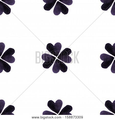 Watercolor Gray Four-leaf Clover Leaves. St. Patrick Day Background. Charity. Hand Painted Illustrat