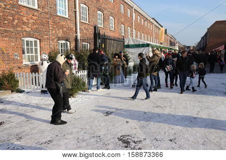 26TH NOVEMBER 2016, PORTSMOUTH DOCKYARD, ENGLAND: Visitors at the yearly Christmas victorian festival in portsmouth dockyard,26th november 2016