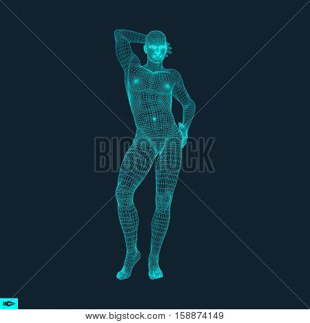 Man Stands on his Feet. Man Thinks about Something. Polygonal Design. Human Body Model. 3D Vector Illustration.