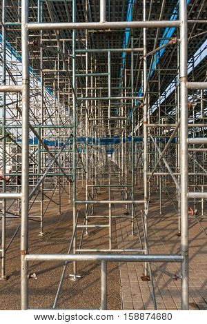 Scaffolding elements in a construction on site.