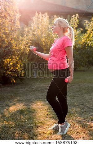 Pregnant Fitness Health Sport Body Care Leisure Lifestyle Healthy Pregnancy Concept