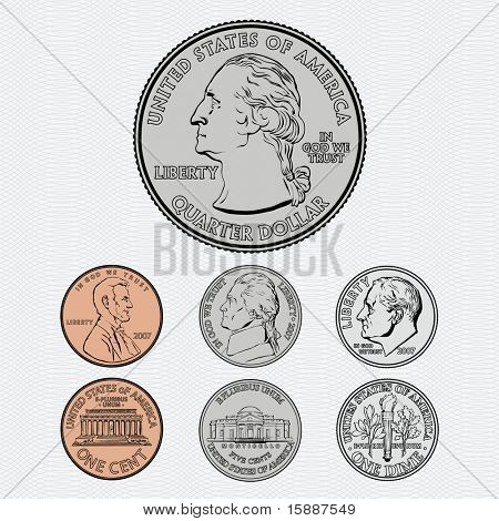 Vector Coins - Quarter, Dime, Nickel and Penny