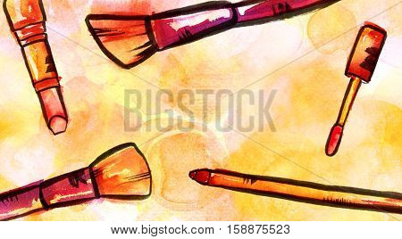 Watercolor and ink makeup brushes, lip gloss, lipstick, and pencil on a golden yellow background. A horizontal template for a makeup artist's business card or flyer design