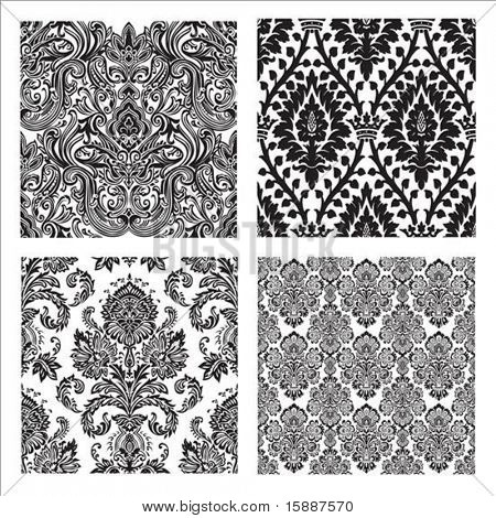 Set of detailed repeating damask patterns. Easy to change colors.