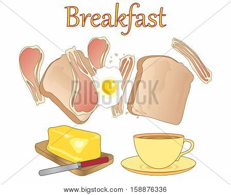an illustration of a breakfast meal with a cup of tea toast bacon rashers fried egg and a block of golde butter on a white background
