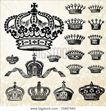 Detailed set of crown illustrations. Easy to change colors.