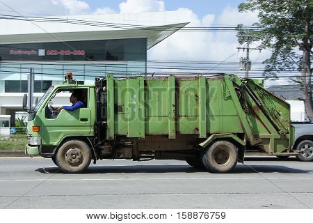 CHIANG MAI THAILAND - OCTOBER 28 2016: Garbage truck of Nongjom Subdistrict Administrative Organization. Photo at road no 121 about 8 km from downtown Chiangmai thailand.