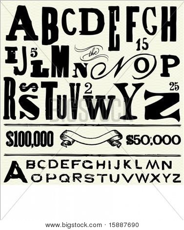 Vector letters and alphabet for creating old fashioned documents.