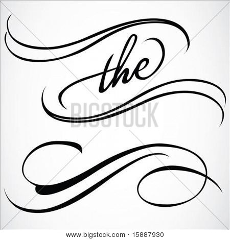 Ornate vector cursive ornaments. Easy to edit.