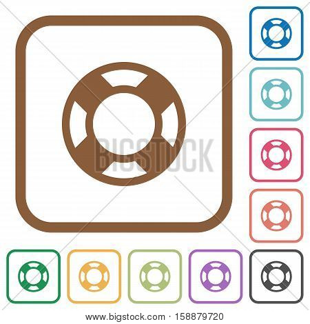 Lifesaver simple icons in color rounded square frames on white background