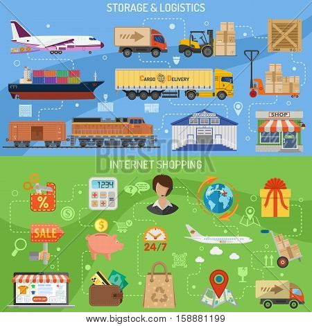 Storage logistics and shopping horizontal banners with flat Icons air cargo, sales, delivery, laptop, piggy bank, shop. vector illustration. infographics