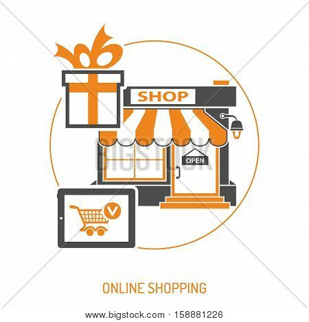 Online internet shopping concept with Two Color flat Icons for business marketing and advertising with shop, gift and cart. Isolated vector illustration
